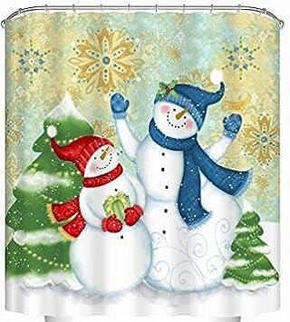 Christmas Snowmen Bathroom Shower Curtains, Uphome 72u0026quot;W X 72u0026quot;H  Winter Holiday