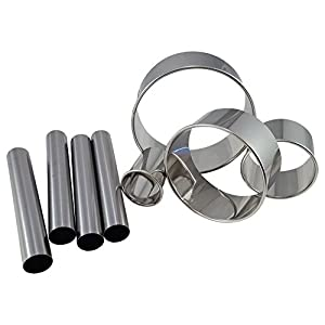 Cannoli Kit, Norpro Standard Stainless Steel Cannoli Forms (4) Bundled With Ateco Graduated Stainless Steel Round Cutters (4)