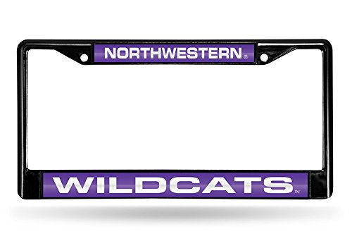 NCAA Northwestern Wildcats Laser Cut Inlaid Standard Chrome License Plate Frame, Black