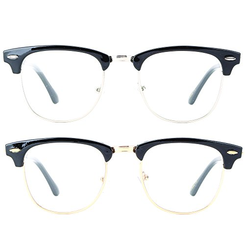Newbee Fashion - Clubmaster Oval Stylish Retro Celebrity Classic Half Frame High Fashion Clear Lens - Prescription Style Glasses Clubmaster