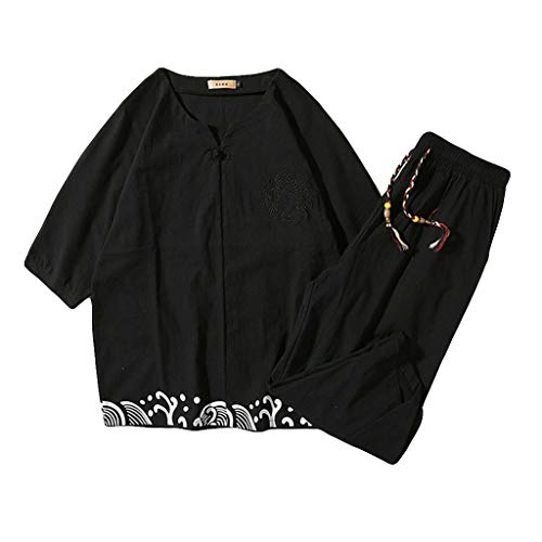 Mens 2 Piece Outfit Linen Set Short Sleeve Summer Leisure Casual Short Thin Sets Black