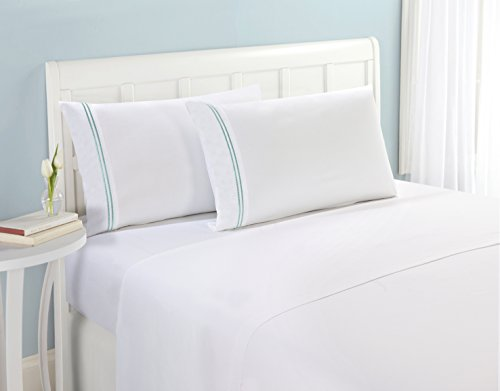 """Matisse New York Premium Quality Microfiber Two Line Dots Bed Sheet Set Luxurious Silky Soft Wrinkle Free & Fade Resistant 4 Pc Sheet Set, Deep Pocket up to 16"""" - All Size and Colors (Twin, Aqua)"""