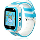 CMKJ - Kids Smartwatch with Games/lbs,GSM, Waterproof/Shockproof/SOS Call/Remote Camera and Voice (Blue & red)