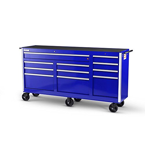 International Tech Series 73 in. 11-Drawer Roller Cabinet Tool Chest Blue (Side Cabinet 6 Drawer Series)