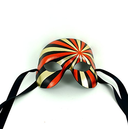Red/Gold Ziggy Stardust Mens Masquerade Mask - Superior Quality Italian Made (Carnival Italian Mask)