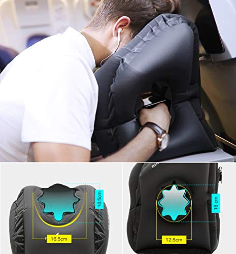 EnjoCho Travel Pillow Inflatable Pillows Air Soft Cushion Trip Portable Innovative Products Body Back Support Foldable Blow Neck Pillow (Black) by EnjoCho (Image #8)