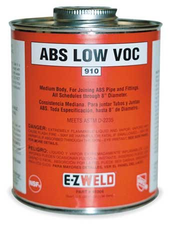 (Ez Weld Black Solvent Cement, Size 8, For Use With ABS Pipe and Fittings Up To 6