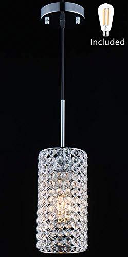 Amabao Lighting, 1-Light Chrome Finish Crystal LED Pendant Light for Kitchen Island,Dining Room, 1 LED Bulbs ()