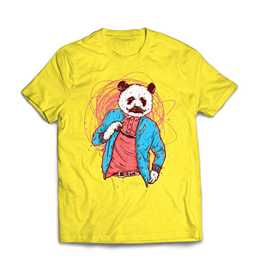 lepni.me Men's T-Shirt Hipster Panda Bear - Cool Graphic, Swag Fashion (XX-Large Yellow Multi Color) -