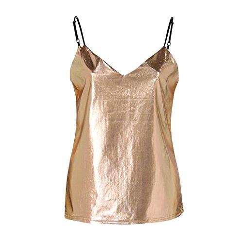 Longra Donna Moda Brillante Vest Donne Casuale Crop Top Liquido Effetto Bagnato Veste Superiore Camiciola per Club Blouse Carri Armati Confortevole Fionda Senza Maniche Gilet Oro
