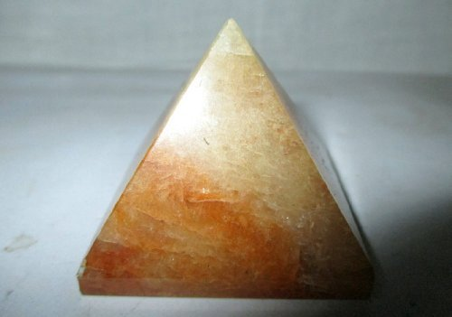 "Lovely Golden Quartz Pyramid Approx. 1.5"" Earth Elements Reiki Symbol Pentacle Gemstone Crystal Healing Vastu Chakra Balancing Pyramid Good Luck Massage Pouch Prosperity Divine Chakra Balancing Wicca Pagan Spiritual Fortune Family Positive Energy Gift Polished Stones"