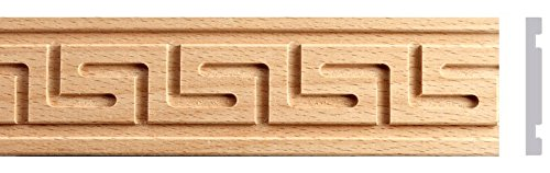 1''W, 1-1/4''W x 2ft. Total 4pc, 8ft. Beech Wood Greek Key Moulding 879 (1''W X 1/4''TH X 2ft) by Zakros Design
