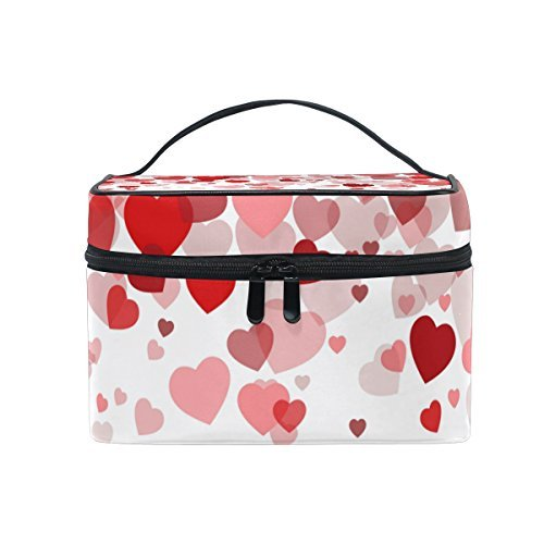 Makeup Bag Sweet Love Hearts Mens Travel Toiletry Bag Mens Cosmetic Bags for Women Fun Large Makeup Organizer by All agree (Image #1)