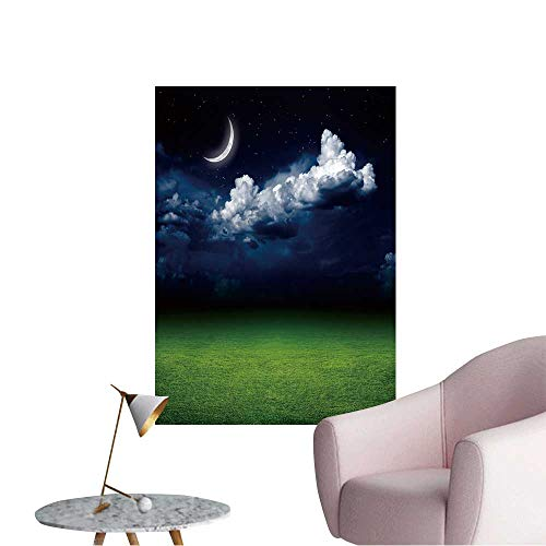 """Wall Stickers for Living Room Night View of Green Grass Field Dark Sky with White Clouds,Moon Vinyl Wall Stickers Print,12""""W x 20""""L"""