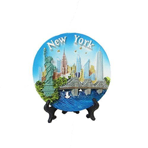 New York Souvenir 3D Plate with Statue of Liberty, Empire State Building, Chrysler Building, Freedom Tower, Brooklyn Bridge 4 Inches Diameter - Stores 5th In On Nyc Avenue