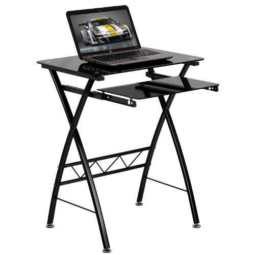 (Flash Furniture Black Tempered Glass Computer Desk with Pull-Out Keyboard Tray)