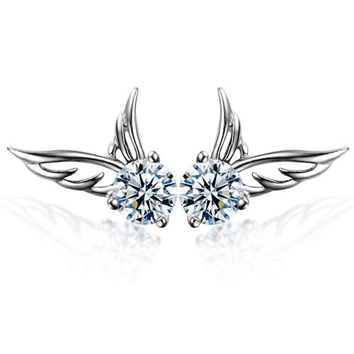 Eternity J. Silver Crystal Angel Wings Earrings Tiny Cute Allergy Free Ear Studs Ear Clip Pin Christmas Gift -