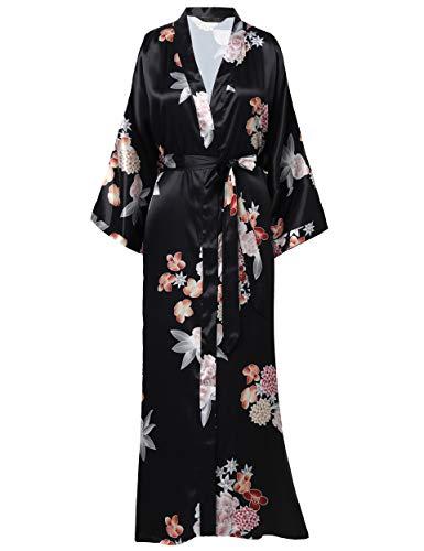 "BABEYOND Floral Kimono Robe Satin Silk Wedding Robe Nightgown Sleepwear 53"" Long (Flower-Black)"