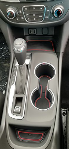 Custom Fit Cup Holder and Door Compartment Liner Accessories for 2018 Chevy Equinox 12-pc Set (Red Trim)