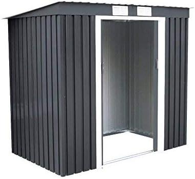 COSTWAY Cobertizo de Jardín de Metal con Base Metálica 213x130x173cm Exterior Caseta de Jardín Herramienta Almacenamiento Gris Oscuro