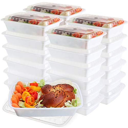 (50-Pack meal prep Containers - Single 1 Compartment bowls with Lids Reusable food Storage Lunch Boxes - Bento Box, BPA-Free Food Grade - Microwave, Freezer & Dishwasher Safe (28 Oz))