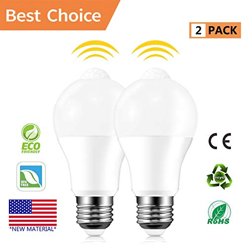 Motion Sensor Light Bulbs, Akindoo 8W (100-Watt Equivalent) E26/27 Base Motion Activated Dusk to Dawn LED Bulb Outdoor/Indoor for Front Door Garage Basement Hallway Stairs (Cold White)