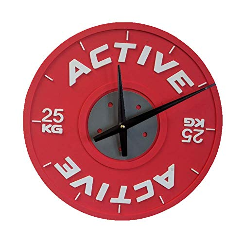 Powerlifters Active 12 Inch Bumper Plate Wall Clock and Olympic Weightlifters Perfect for WOD Athletes