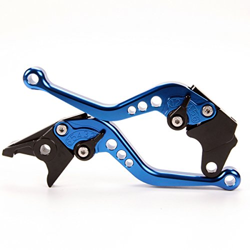 Short CNC Brake Clutch Levers For Yamaha YZF R6 1999-2004, YZF R1 2002-2003, FZ1 FAZER 2001-2005, FZS1000 FAZER /FZS1 2001-2005, YZF600R Thundercat 1999-2007 Blue