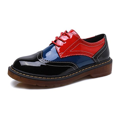 Meeshine Women's Perforated Lace-up Wingtip Leather Flat Oxfords Vintage Oxford Shoes Brogues Black Red Size 9.5 US