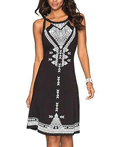 (Imagine Women Summer Vacation Halter Neck Boho Print Sleeveless Backless Casual Mini Beachwear Dress)
