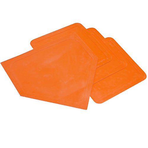 Champion Sports Indoor Outdoor Bases: Orange Youth League Baseball & Softball Rubber Throw Down Base Set - Boys & Girls Training & Practice Equipment (Softball Field Equipment)