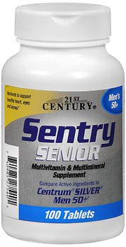 21st Century Sentry Senior Multivitamin & Multimineral Supplement Men's 50+ Tablets - 100 Tablets, Pack of 5 (Multivitamins Senior 100 Tab)