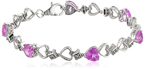 Sterling Silver Created Pink and White Sapphire Bracelet