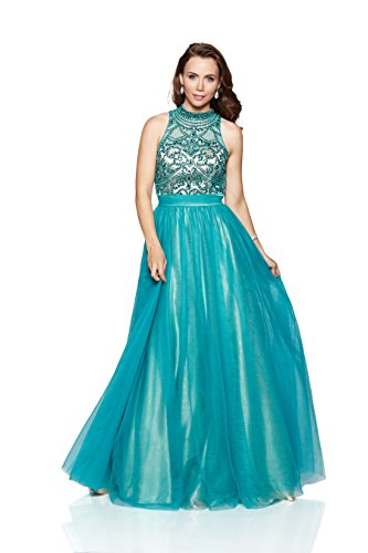 Milano Formals Women's High Neck Beaded Sheer Bodice Long Teal Evening (Sheer Net Long Gown)