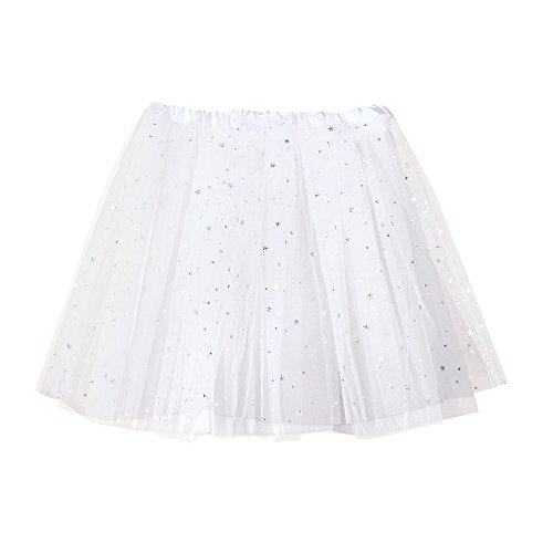 Women Short Skirt Tutu Vintage Ballet Petticoat Pleated Tulle Classic High Waist Lace Mini Skirts (Free Size, White)