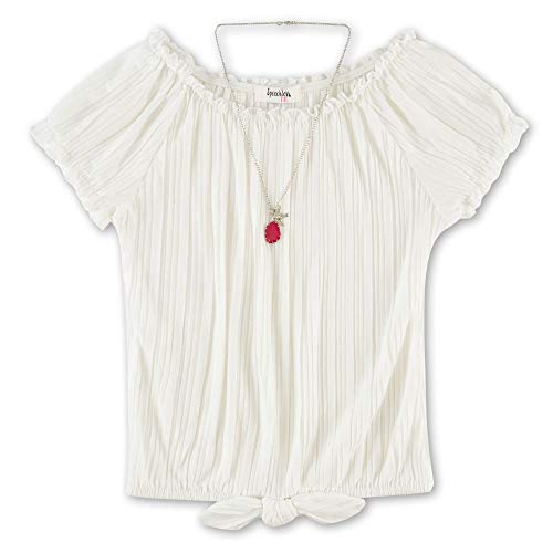 Speechless Girls' Big Tie Front Pleated Top, Ivory, L