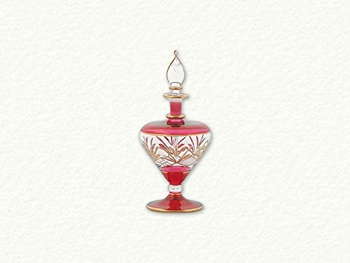 Red with Gold Etch Pattern Fancy Cut Egyptian Blown Glass Perfume (Gold Accented Blown Glass)
