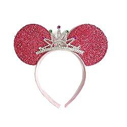 MeeTHan Mickey Mouse Ears Headband Minnie Mouse ears Tiara headbands : M6 (Pink1)