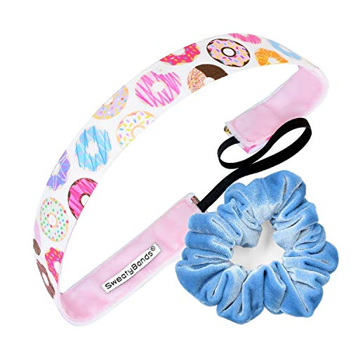 Sweaty Bands Womens Girls Headband - Non-Slip, Velvet-Lined Exercise Hairband - Gift Pack - Donut Give Up Pink 1-Inch and a Light Blue Scrunchie