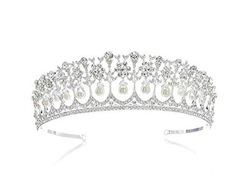 Diana Pearl - Wiipu Wedding Bridal Pearl Crown Diana Tiara Princess Hair Accessories(N431)