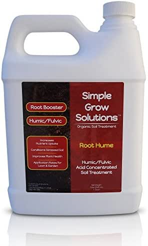 Raw Organic Humic Fulvic Acid- Liquid Carbon - Root Hume- Simple Grow Solutions- Natural Lawn & Garden Treatment- Nutrient Plant Food Enhancer- Concentrated Turf Grass Soil Conditioner
