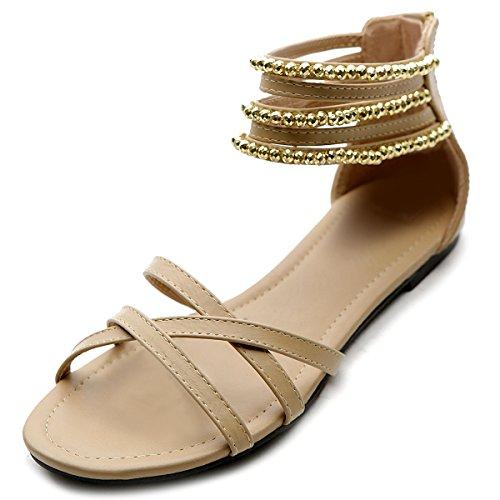 Ollio Women's Shoe Gladiator Zipper Ankle Strap Multi Color Studded Sandal(6 B(M) US, Beige)