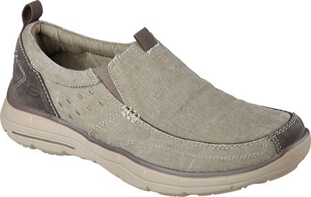 Khaki Men's Benideck Relaxed Slip On Fit Glides Skechers nHv0W4dqcd