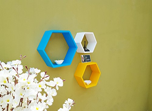 Onlineshoppee Set of 3 Hexagon Shape Designer Storage Shelves   Multicolour.