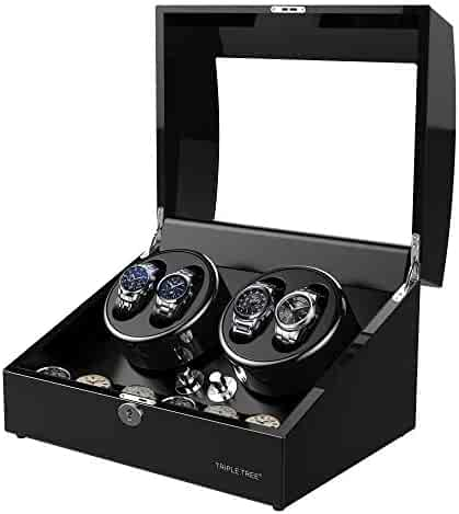 TRIPLE TREE Newly Upgraded Watch Winder, for Automatic Watches, Wood Shell Piano Paint Exterior and Extremely Silent Motor, with Three Dimensional Watch Pillows, Suitable for Wrist from 28 to 50mm