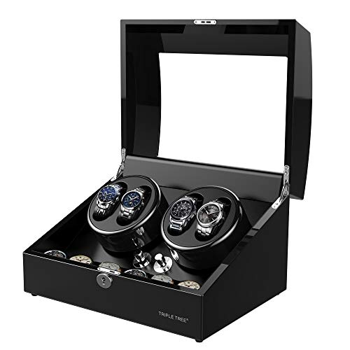 TRIPLE TREE Newly Upgraded Watch Winder, for Automatic Watches, Wood Shell Piano Paint Exterior and Extremely Silent Motor, with Three Dimensional Watch Pillows, Suitable for Wrist from 28 to 50mm ()