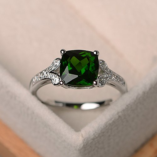 natural chrome diopside rings cushion cut sterling silver for women engagement ring