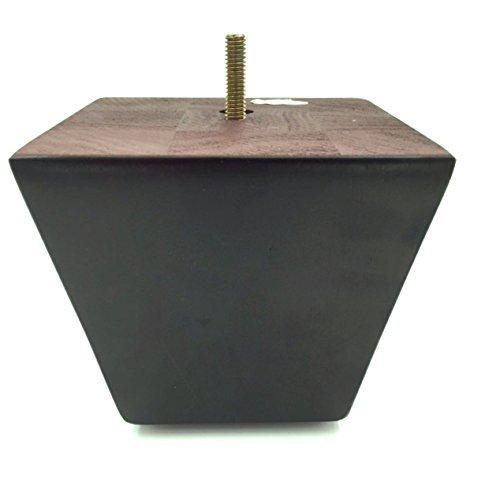 ProFurnitureParts 4'' Inch Espresso Dark Finish Square Tapered Pyramid Wood Sofa Legs Set of 4