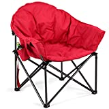 Giantex Folding Moon Saucer Chair Portable Camping Chair, Oversized Outdoor Chair with Cup Holder Carry Bag Steel Frame Padded Seat, Camp Chair for Adults