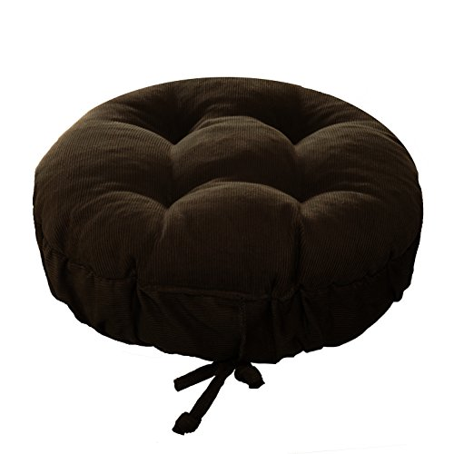 Padded Round Bar Stool Cover - Pinwale Corduroy Brown - Size Standard - Latex Foam Fill Barstool Cushion with Adjustable Drawstring Yoke - Made in USA fits Most 12